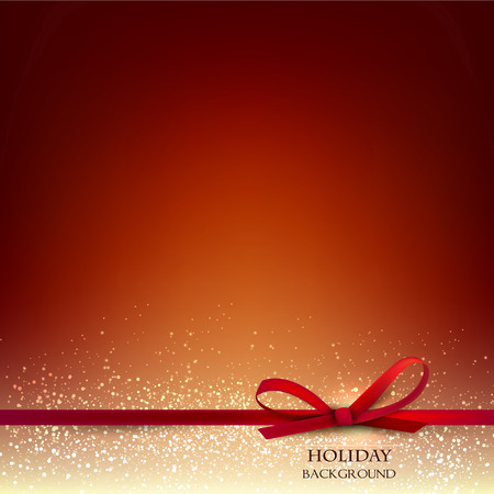 Elegant Christmas Red background with Red bow and place for text. Vector Illustration.