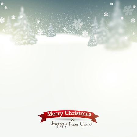 Beautiful Christmas background with blurred Christmas trees. White winter landscape. Vector Illustration Vector