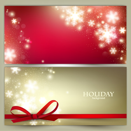 weihnachtsschleife: Set Elegantes Weihnachten Banner mit Schneeflocken. Vektor-Illustration