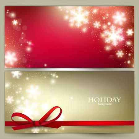 white christmas: Set van Elegant Kerst banners met sneeuwvlokken. Vector illustratie Stock Illustratie