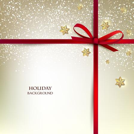 christmas star: Biglietto di auguri con fiocchi rossi e copia spazio. Illustrazione vettoriale Vettoriali