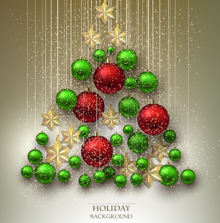 Christmas background with balls. Xmas tree made from colorful baubles and stars. Vector Vector