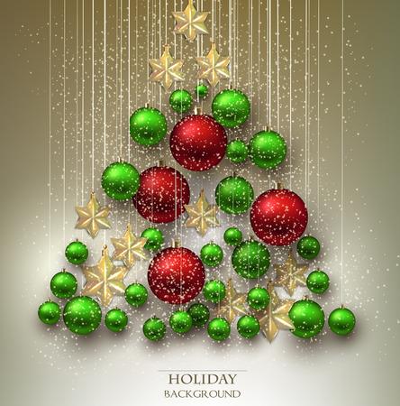 navidad de fondo con bolas rbol de navidad hecho de las chucheras de colores y estrellas vector vectoriales clip art vectorizado libre de