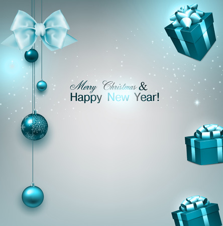 Christmas background with gifts and blue balls. Xmas baubles.Vector illustration. Vector