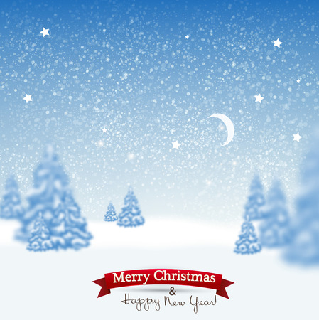 merry christmas and happy new year: Beautiful Christmas background with blurred Christmas trees. White winter landscape. Starry sky. Vector Illustration