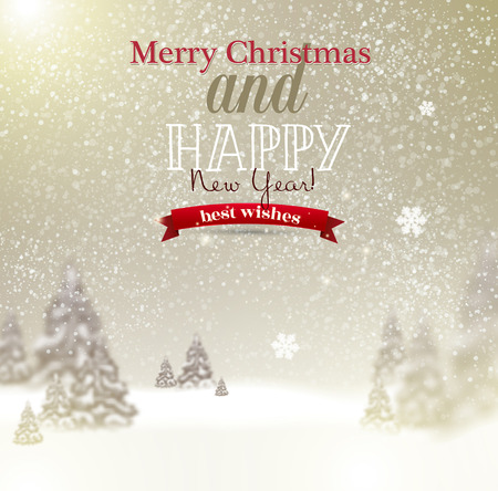 wintry: Beautiful Christmas background with blurred Christmas trees. White winter landscape. Vector Illustration