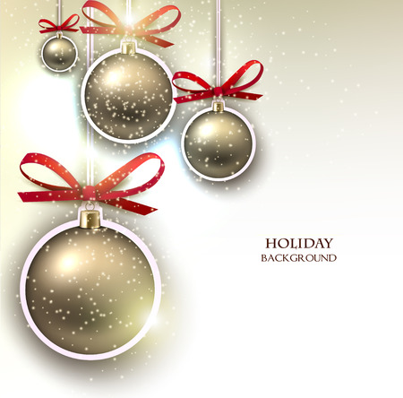 xmas decoration: Christmas background with  Christmas balls and  stars. Xmas Decoration Elements for design.