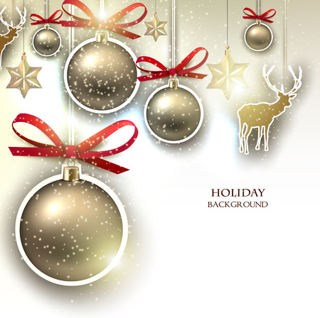 Christmas background with  Christmas toys, balls and  stars. Xmas Decoration Elements for design. Vector