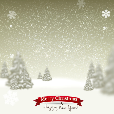snowdrift: Beautiful Christmas background with blurred Christmas trees. White winter landscape. Starry sky. Vector Illustration