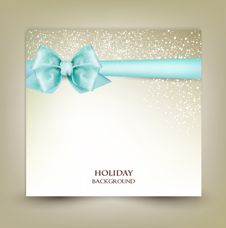 Elegant Christmas greeting card with blue bow and place for text. Vector Illustration.