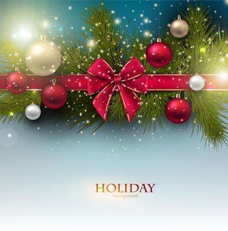 공 및 전나무 나뭇 가지와 크리스마스 배경입니다. 화려한 크리스마스 싸구려입니다. 벡터