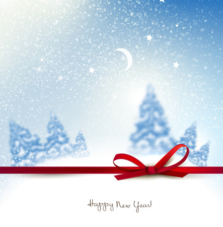 rime: Beautiful Christmas background with blurred Christmas trees. White winter landscape. Vector Illustration