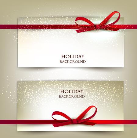 赤いリボンで 2 つのエレガントなギフト カードのセットです。ベクトル イラスト。  イラスト・ベクター素材