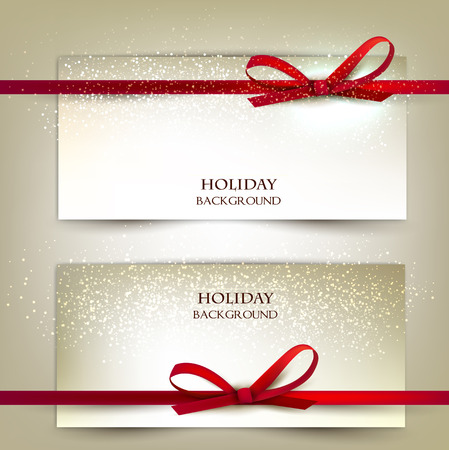Set of two elegant gift cards with red ribbons.Vector illustration. Çizim