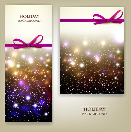Greeting cards with red bows and copy space. Vector illustration Çizim