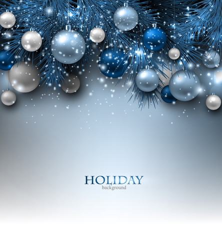 Blue Christmas background with fir twigs and balls. Xmas baubles.Vector illustration. Çizim