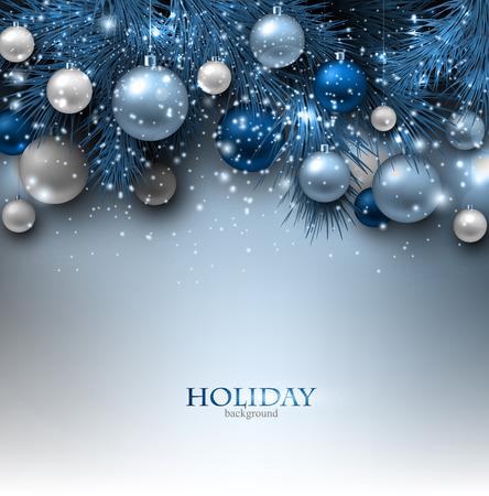 abeto: Fundo azul do Natal com galhos do abeto e bolas. Ilustração Xmas baubles.Vector.