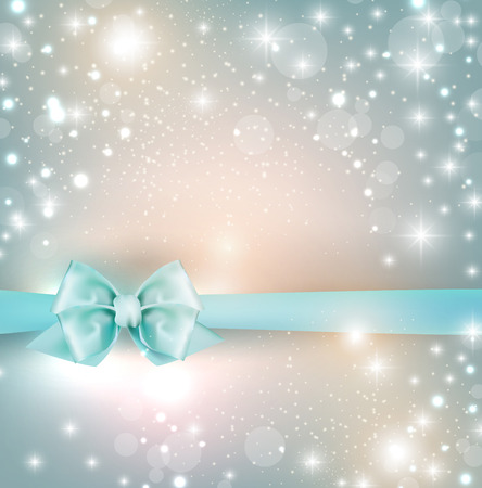 Elegant Christmas background with snowflakes and blue bow. Vector Illustration.