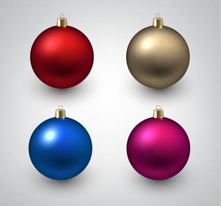 Vector illustration of shiny christmas balls. Winter decoration.