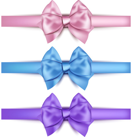 pink satin: Realistic gift bows on white background. Vector illustration. Illustration