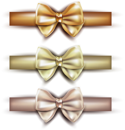 gold colour: Realistic gift bows on white background. Vector illustration. Illustration