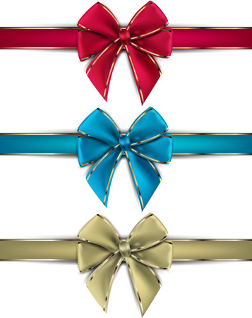 christmas bow: Realistic gift bows on white background. Vector illustration. Illustration