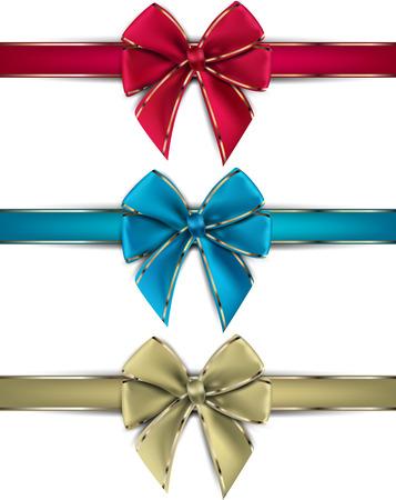 Realistic gift bows on white background. Vector illustration. Illustration