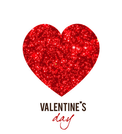 Red shining vector hearts. Valentines Day