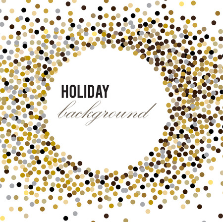 Holiday greeting vector illustration with golden glitters, sparkles. Illustration