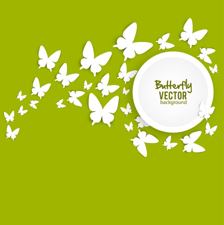 Beautiful summer background with white paper butterfly Illustration