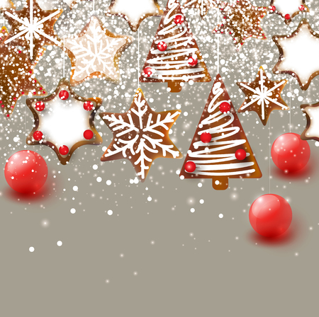 Christmas background with Christmas gingerbreads. Xmas Decoration Elements for design.