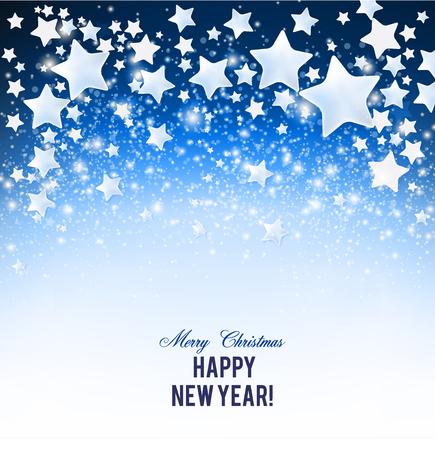 Elegante fondo de Navidad con estrellas y lugar para el texto. Ilustración de vector. Ilustración de vector