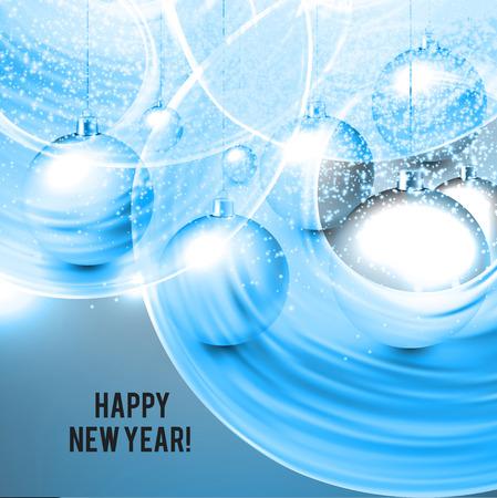 Blue Christmas background with balls. Xmas baubles.Vector illustration. Illusztráció