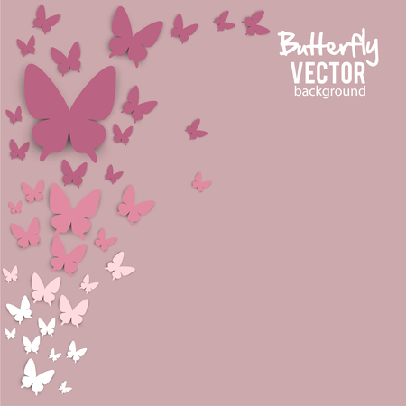 Beautiful summer background with white paper butterfly Illusztráció