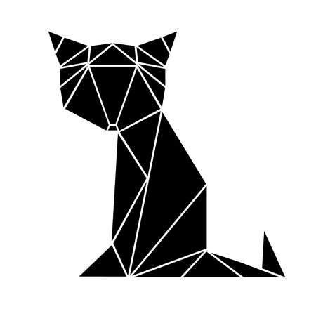 Black cat made from triangles. Vector illustration. Puzzle
