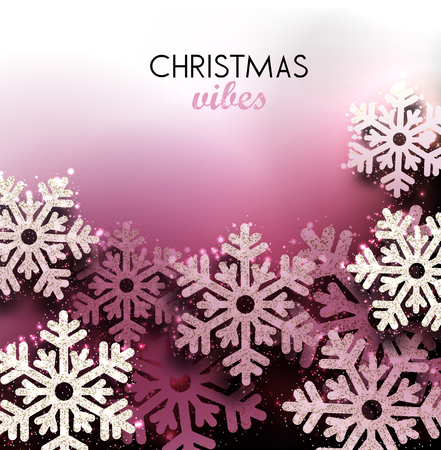 Merry Christmas  greeting vector illustration with pink glitters, sparkles and snowflakes