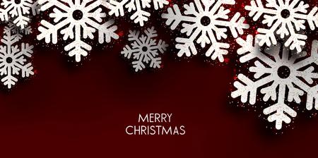 Merry Christmas  greeting vector illustration with  glitters, sparkles and snowflakes Illusztráció