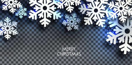 Merry Christmas  greeting vector illustration with blue glitters, sparkles and snowflakes Illusztráció