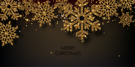 Merry Christmas  greeting vector illustration with golden  glitters, sparkles and snowflakes