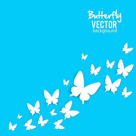 Beautiful background with white paper butterfly