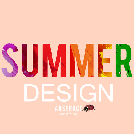 Summer background with ladybug. Watercolor effect. Vector illustration Illusztráció