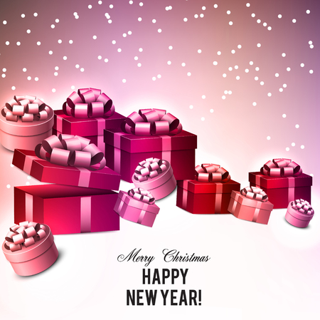 Christmas background with gifts. Xmas boxes with bows and place for text.  Vector Illustration. Stock fotó - 114082232