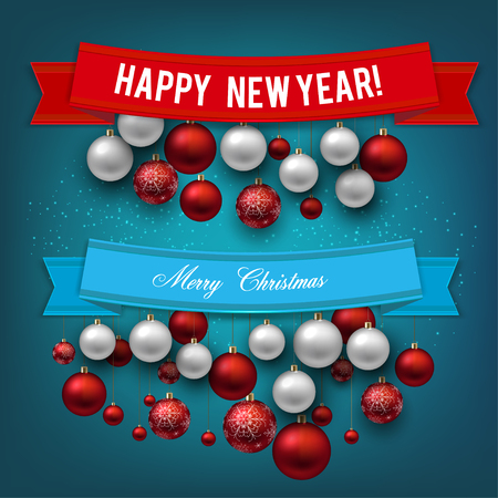 Set of  Ribbons, Labels, Tags: Merry Christmas and Happy New Year! Stock fotó - 114082236