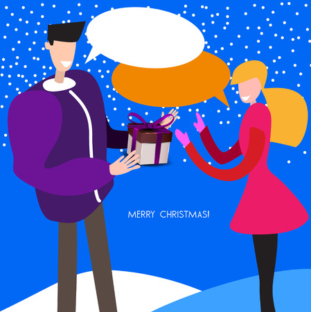 Man and woman. Gift. Christmas vector background