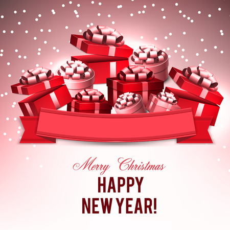 Christmas background with gifts. Xmas boxes with bows and place for text.  Vector Illustration. Stock fotó - 114082295