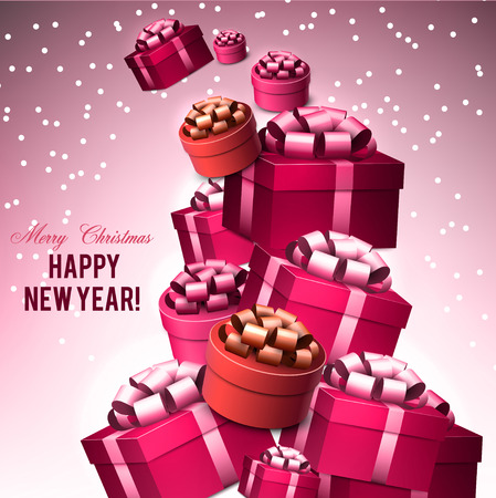 Christmas background with gifts. Xmas boxes with bows and place for text.  Vector Illustration. Stock fotó - 114082303