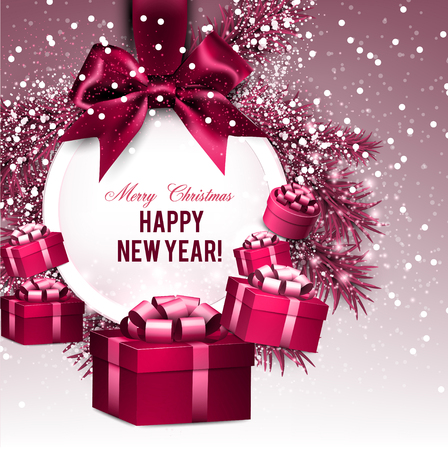 Christmas gift card with red ribbon and satin bow. Vector illustration. Stock fotó - 114082353