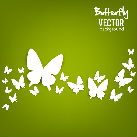 Beautiful summer background with white paper butterfly Ilustracja