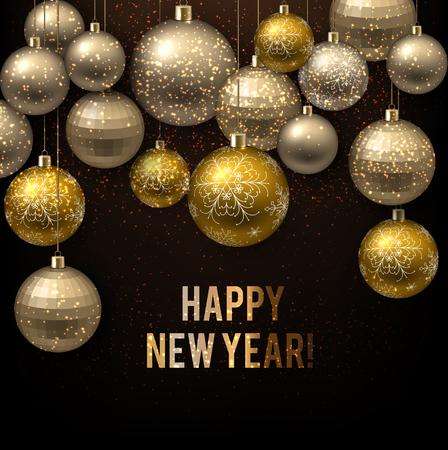 Beautiful Christmas background  with golden balls.  Golden Xmas baubles. Vector illustration Ilustracja