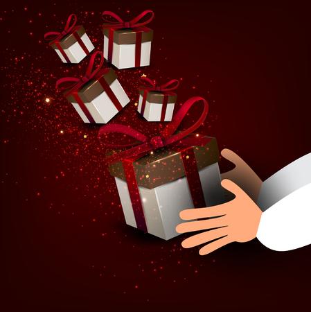 Mens hands holding gift. Christmas illustration. Santa